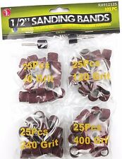 "1/2"" SANDING BANDS DRUMS SLEEVES 102PC SET 60 120 240 AND 400 GRITS ROTARY TOOL"