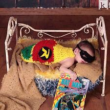 Batman Cos Hallowween Handmade Knitted Cape Cloak Mask Baby Crochet Photo Props