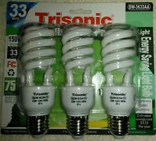 3 pcs-compact 33 Watt CFL Light Bulb, 150 W EQL 6500K Daylight INDOOR GROW BULBS