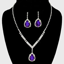 Purple jewellery set diamante rhinestone sparkly prom party bridal necklace 0520
