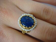 ANTIQUE, HUNDRED YEARS OLD GOLDEN LAPIS AND SEAD PEARLS LADIES RING 14K GOLD