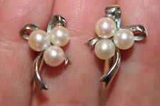 Vintage Mikimoto Sterling Silver Screw Back Earrings Bow Shaped