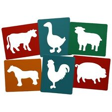 New Farm Farmyard Animal stencils Pack Of 6  Painting Stencil Art