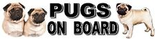 PUGS ON BOARD Dog Car Sticker featuring the Pug designed by Starprint