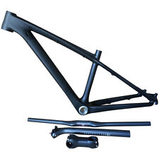 26ER Mountain Bike MTB Bicycle Frame Carbon Riser Bar Handlebar Seatpost Stem 3K
