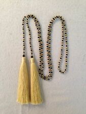 Long Gold Bronze Black Glass Crystal Beads Beaded LARIAT Y Gold Tassel Necklace