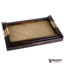 3 in 1 SET Wicker Tray Square Wooden Serving in Restaurant Tea Food Asia Craft
