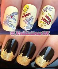 NAIL ART SET #522. BUGS BUNNY & TWEETY PIE WATER TRANSFERS/STICKERS & GOLD LEAF