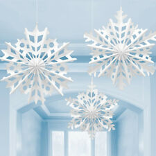 3 x Christmas Snowflake Paper Fans white Large Winter Party Hanging Decorations