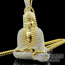 Mens Diamond Meditation Buddha Pendant  10K Yellow Gold Finish Round Pave Charm
