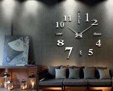 Large Number Wall Clock Decal Frameless 3D Mirror Sticker Home Decor Silver