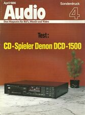 Audio Sonderdruck 4 April 1986 Denon DCD-1500 Prospekt Katalog Test HiFi