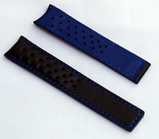 Negro/azul Sports Watch Band para adaptarse a Tag Heuer Carrera Modelos Con fc5037/9 Broche