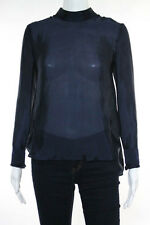 Theory Navy Blue Silk Long Sleeve Mockneck Loose Fit Sheer Blouse Size Petite