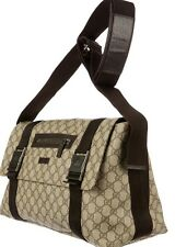 Authentic GUCCI Brown GG Logo Messenger Bag!! Great Size!!