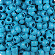 500 Dark Turquoise Opaque 9x6mm Barrel Pony Beads Made in the USA