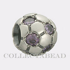 Authentic Pandora Sterling Silver Amethyst CZ Soccer Ball Bead  79444ACZ