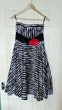 Womens Black and White Stripe Strapless Monsoon Silk Mix Dress. Size 10.