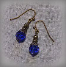 BRONZE FILIGREE DARK SAPPHIRE BLUE CRYSTAL EARRINGS VICTORIAN EDWARIAN BOHO DECO