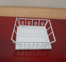 Dollhouse Miniature  ~ White Dish Drainer with Mat ~ Kitchen ~