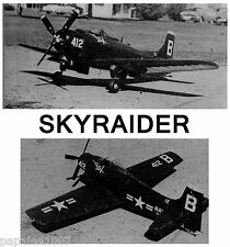 "Model Airplane Plans (UC): DOUGLAS AD-1 SKYRAIDER 33"" Navy Carrier/Scale for .19"