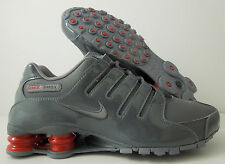 MEN'S NIKE SHOX NZ PATENT LEATHER DARK GREY-CHARCOAL-GYM RED SZ 9 [378341-043]