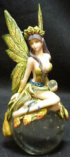 """LEAF FAIRY  on Globe with Crystal Ball  Figure Statue   H6.5"""""""