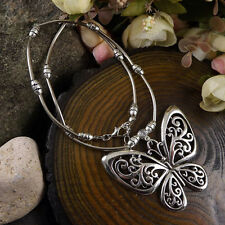 Tibetan Silver Vintage Hollow out Butterfly Pendant Charm Long Fashion Necklace