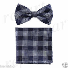 New In Box Men's Plaid Pre-tied Bow Tie And Hankie Set Formal Party Navy Blue