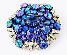STUNNING Vintage PEACOCK Watermelon Heliotrope Rhinestone Pin Brooch Bi Color