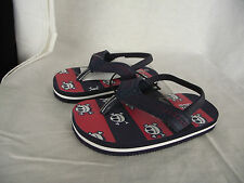 BNWT Little Boys Sz 5 Super Cute Skull Print Navy/Red Sling Back Beach Thongs