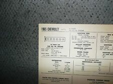 1965 Chevrolet Series All Models 230 CI L6 SUN Tune Up Chart Excellent Condition