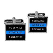 Thin Blue Line Sometimes Justice Just Us - Police Policemen Square Cufflink Set