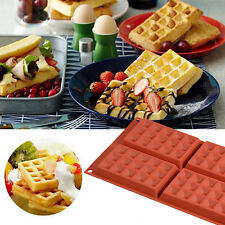 Silicone Waffle Shaped Baking Mould 4-Cavity Pan Cake Chocolate Cookie Bake Mold