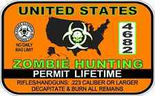 "Zombie Hunting Permit Warning Decal Sticker Funny 3"" x 5"""