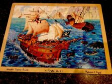 Melissa &Doug Hand Crafted Wood Jigsaw Puzzle Pirate Ship Exciting Lasts Forever