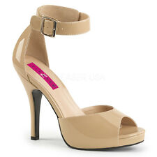"Pleaser Eve-02 Shoes 5"" High Heels Platform Sandals Ankle Strap Drag Queen New"