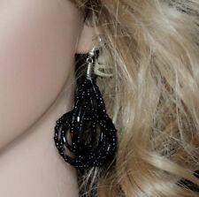Torsión con cuentas gota cuelgan pendientes joyas negro metálico en Capas Damas