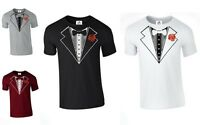 Tuxedo Suit Bow Tie fancy dress T SHIRT WEDDING funny fathers gift (ROSE,TSHIRT)