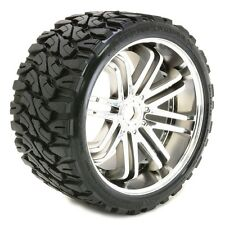 Sweep Terrain Crusher Belted Tyre Silver 17mm Wheels 1/4 Offset (Pair) - SRC0002