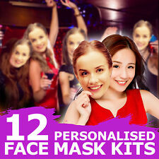 12 FULLY PERSONALISED FACE MASKS KITS FOR HEN PARTY BIRTHDAY ACCESSORY HER GIRLS