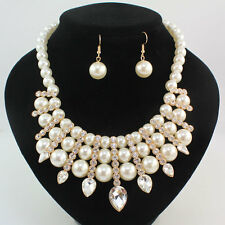 Fashion Women's Crystal Pearl Choker Necklace Earrings Party Jewelry Sets