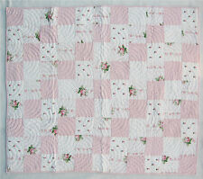 """Beautiful Cotton Pink and White Floral Patchwork Crib Quilt 40"""" x  52"""" NEW!"""