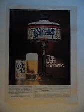1969 Print Ad Colt 45 Beer Malt Liquor ~ Tiffany Type Lamp