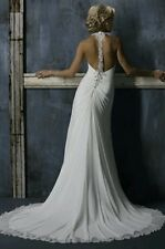 Gorgeous Maggie Sottero Caprice Silk Pearl Diamante Backless Wedding Dress, 10