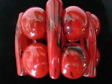 Just FABULOUS 60'S Mod Huge Chunky Cherry Red Resin Stretch Bracelet WOW FACTOR