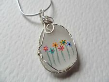 "Rainbow flowers hand painted sea beach glass necklace - 18"" silver plated chain"