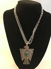 Vintage Bell Trading Post Nickel Silver Eagle Thunderbird Turquoise Necklace