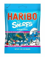 Haribo Gummy Smurfs FOUR PACK 4oz Bags Strawberry and Raspberry Flavored Gummis