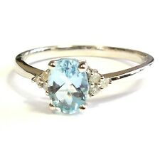 Oval Cut Aquamarine and Diamond Ring ,Sterling Silver